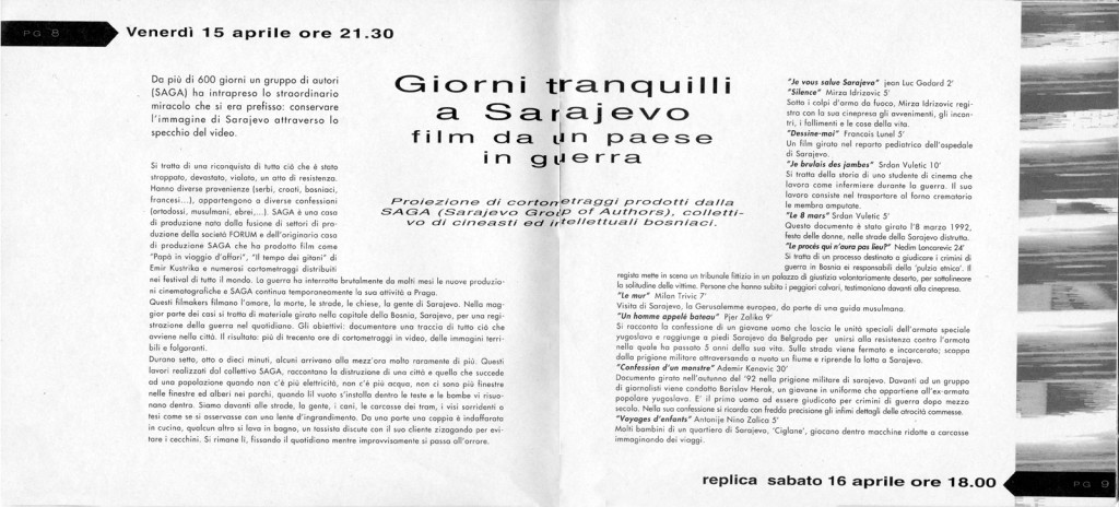 Articolo di presentazione di alcuni cortometraggi su Sarajevo, pubblicato sul primo numero della rivista del Link (aprile-maggio 1994)