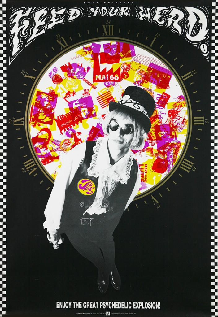 Manifesto 70x100 realizzato per  la stagione 1985-1986, stampa offset a cinque colori. Settembre 1985 / FEED YOUR HEAD, artwork by G.T. Garattoni