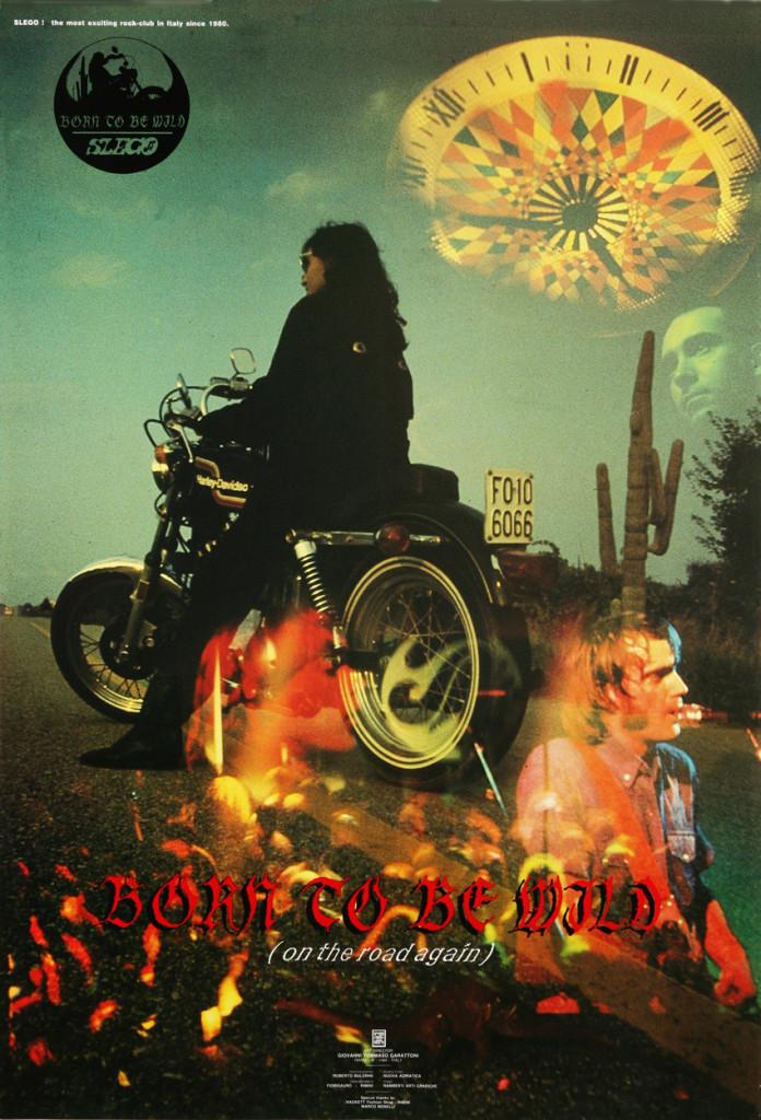 Manifesto 70x100 realizzato la stagione 1986-1987, stampa offset a quattro colori. Settembre 1986 / BORN TO BE WILD, artwork by G.T. Garattoni