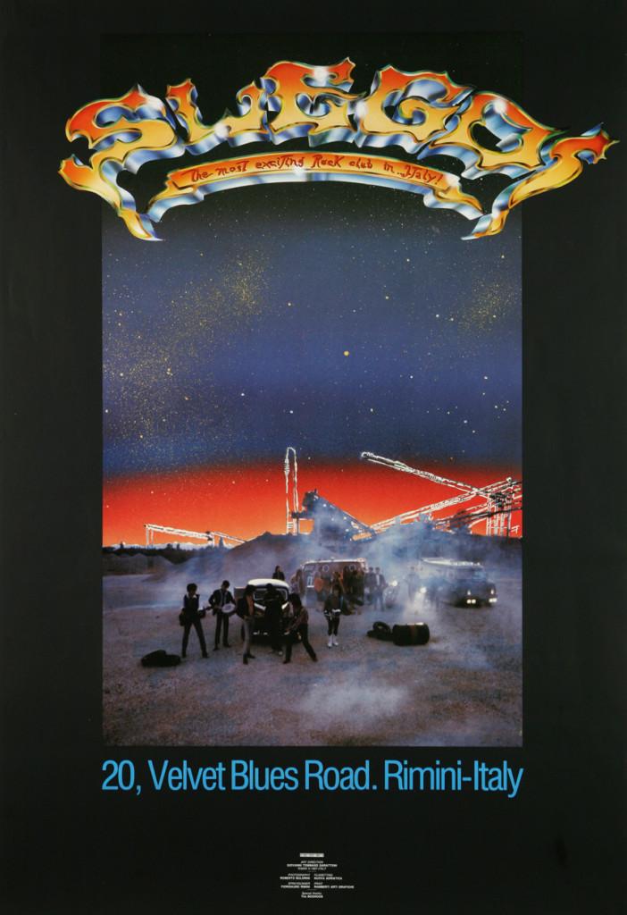 Manifesto 70x100 realizzato la stagione 1987-1988, stampa offset a cinque colori. settembre 1987 / 20, VELVET BLUES ROAD, artwork by G.T. Garattoni