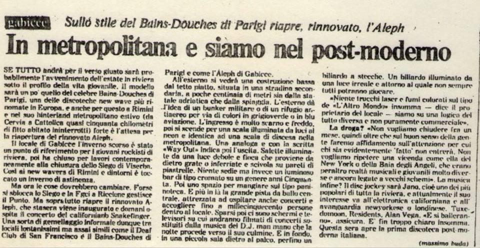 Articolo di Repubblica sull'inaugurazione dell'Aleph del 1981, © La Marzia Fraternale