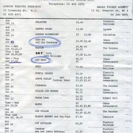 Il programma di ottobre 1979 del Marquee Club di Londra, © G.T. Garattoni