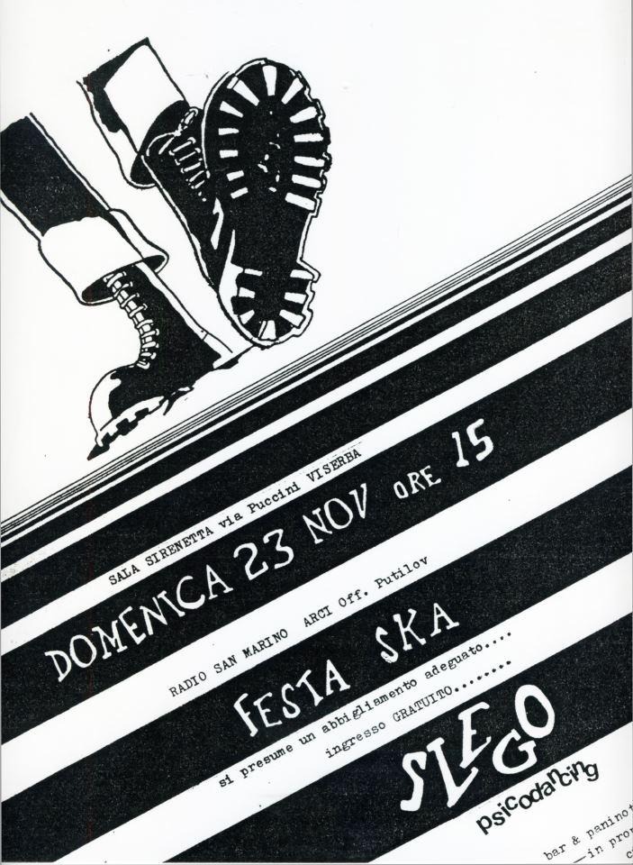 """La prima """"locandina"""" realizzata per promuovere l'inaugurazione dello """"Slego Psicodancing"""" realizzata a mano e riprodotta con ciclostile, artwork by G.T. Garattoni"""