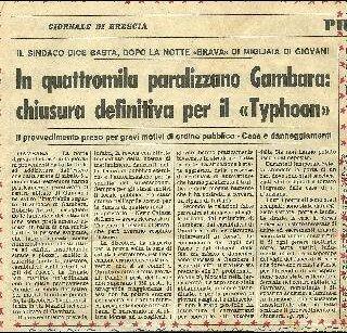 Articolo del Corriere di Brescia su quella che sarà l'ultima notte del Typhoon