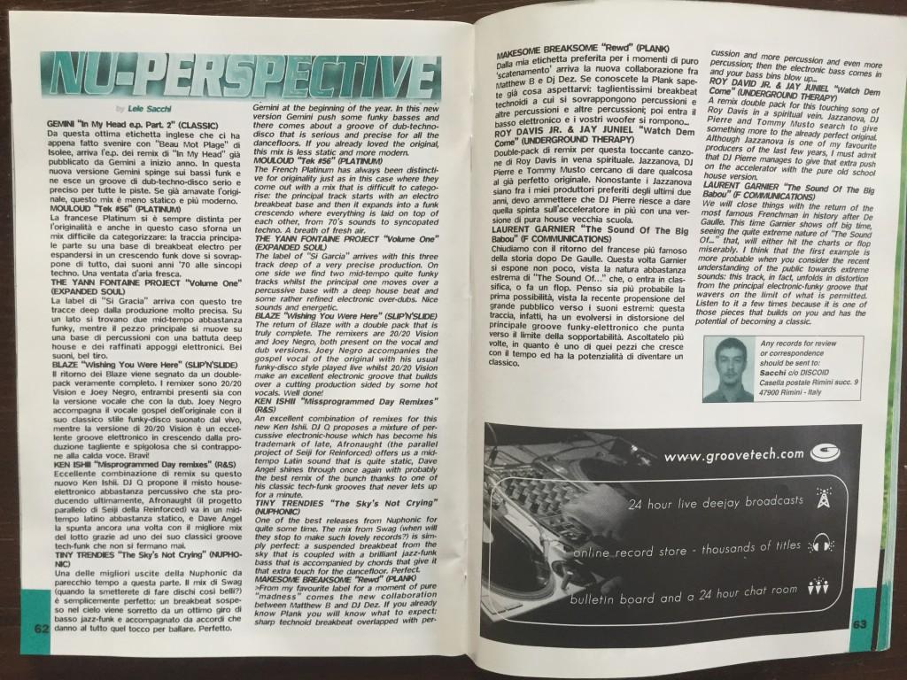 La rubrica Nu-Perspective di Lele Sacchi su numero del 1999 di Discoid, storico magazine musicale per dj e appassionati